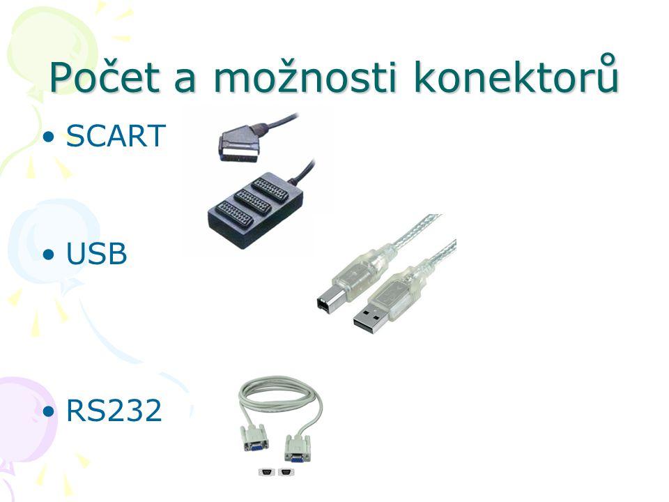 Počet a možnosti konektorů SCART USB RS232