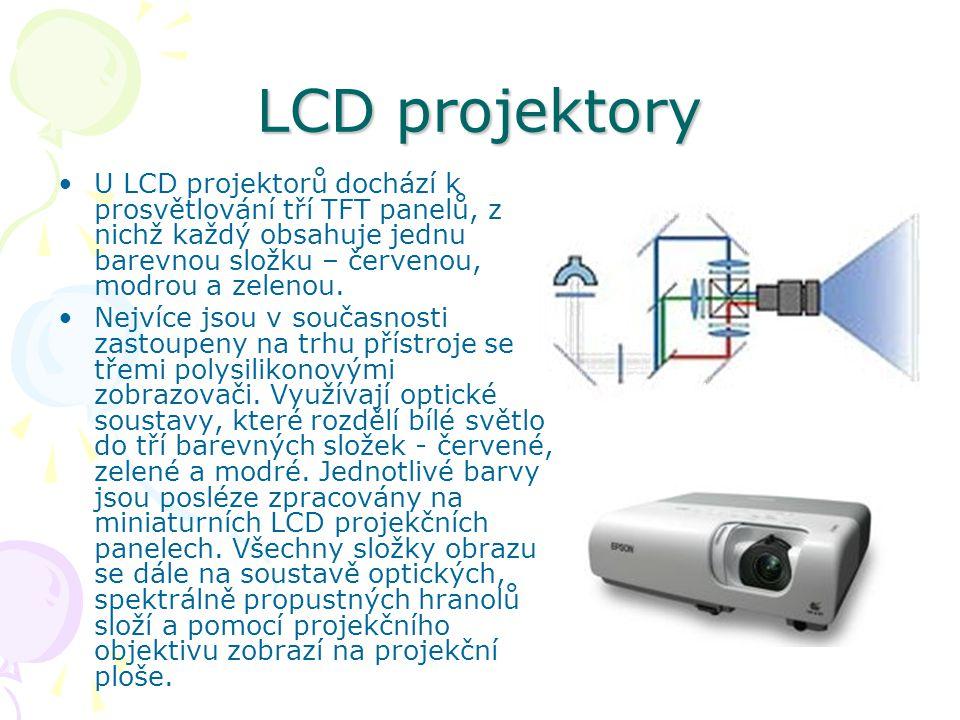 LCD projektory U LCD projektorů dochází k prosvětlování tří TFT panelů, z nichž každý obsahuje jednu barevnou složku – červenou, modrou a zelenou.