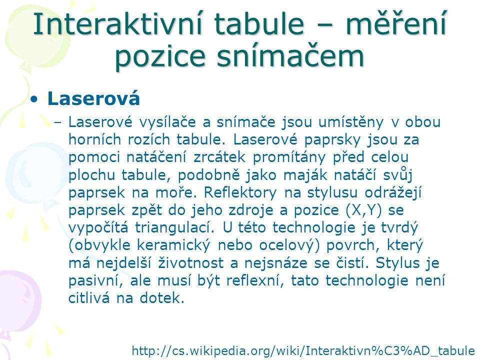 Interaktivní tabule – měření pozice snímačem Laserová –Laserové vysílače a snímače jsou umístěny v obou horních rozích tabule.