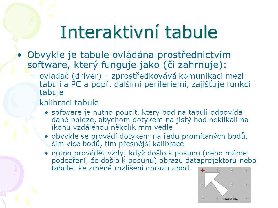 Interaktivní tabule Obvykle je tabule ovládána prostřednictvím software, který funguje jako (či zahrnuje): –ovladač (driver) – zprostředkovává komunikaci mezi tabulí a PC a popř.
