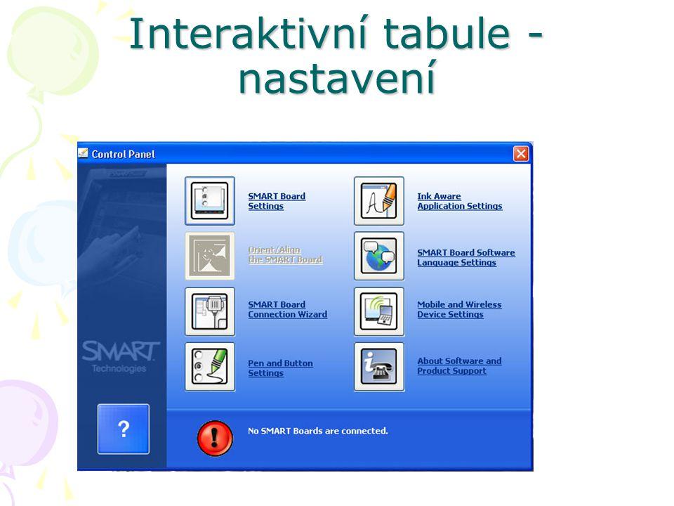 Interaktivní tabule - nastavení