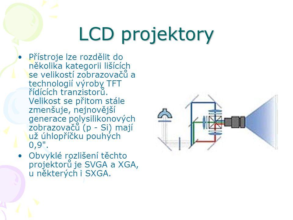 LCD projektory Přístroje lze rozdělit do několika kategorii lišících se velikostí zobrazovačů a technologií výroby TFT řídících tranzistorů.