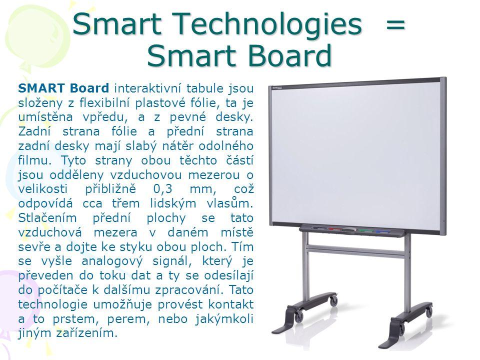 Smart Technologies = Smart Board SMART Board interaktivní tabule jsou složeny z flexibilní plastové fólie, ta je umístěna vpředu, a z pevné desky.