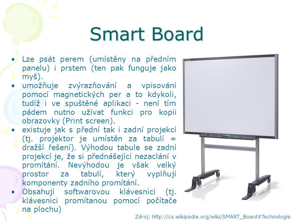 Smart Board Lze psát perem (umístěny na předním panelu) i prstem (ten pak funguje jako myš).