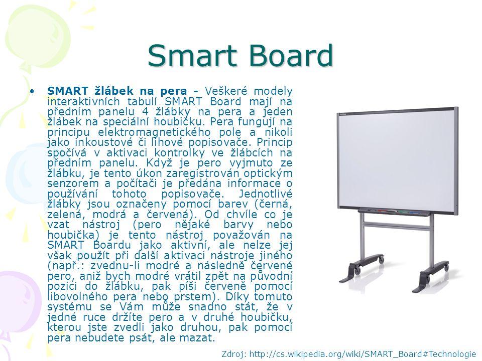 Smart Board SMART žlábek na pera - Veškeré modely interaktivních tabulí SMART Board mají na předním panelu 4 žlábky na pera a jeden žlábek na speciální houbičku.