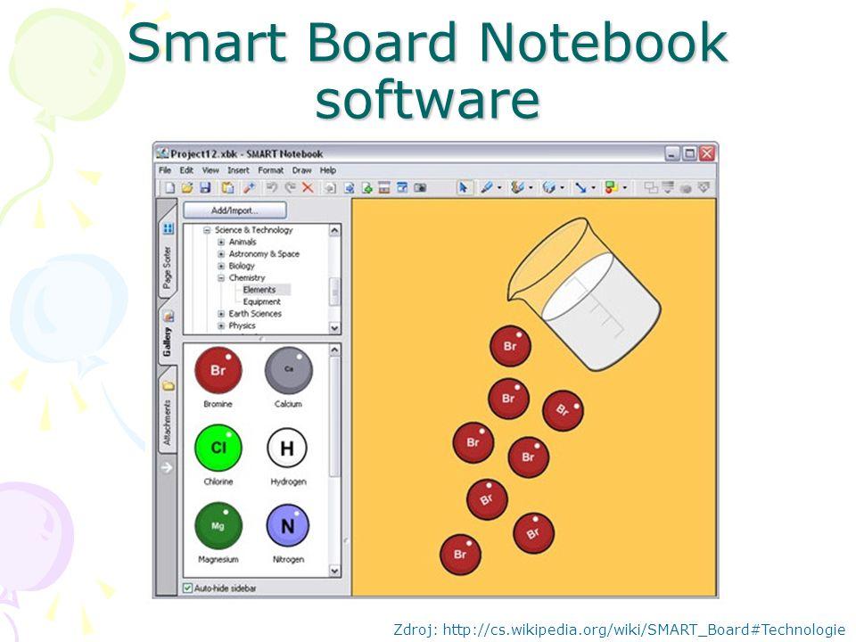 Smart Board Notebook software Zdroj: http://cs.wikipedia.org/wiki/SMART_Board#Technologie