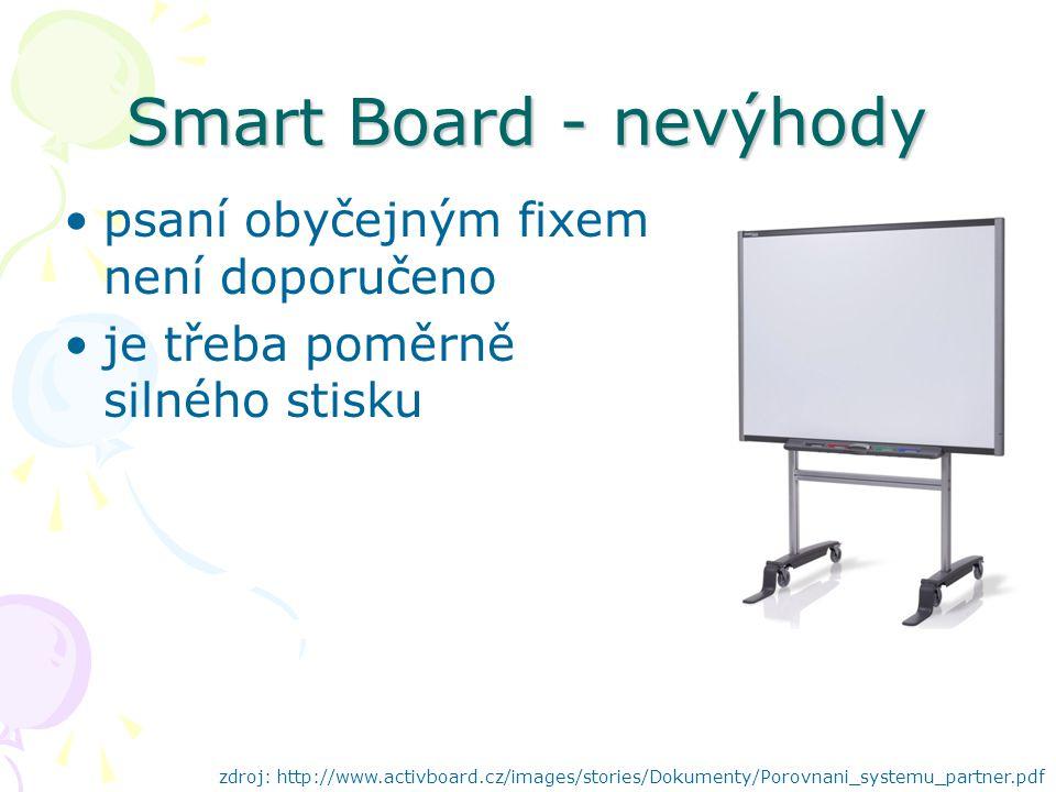 Smart Board - nevýhody psaní obyčejným fixem není doporučeno je třeba poměrně silného stisku zdroj: http://www.activboard.cz/images/stories/Dokumenty/Porovnani_systemu_partner.pdf