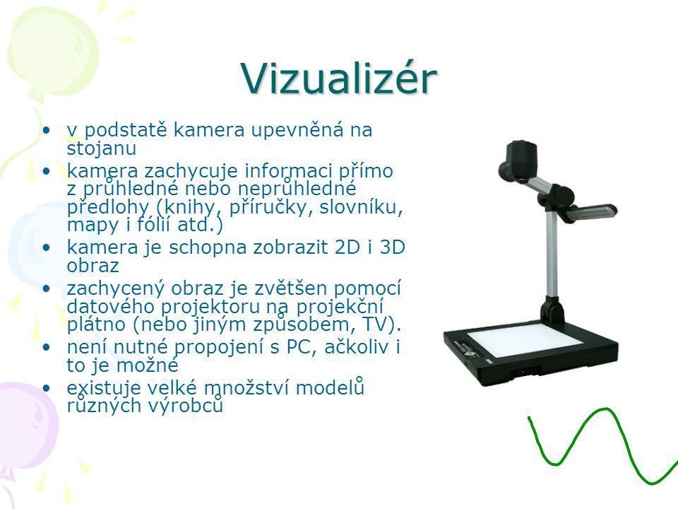 Vizualizér v podstatě kamera upevněná na stojanu kamera zachycuje informaci přímo z průhledné nebo neprůhledné předlohy (knihy, příručky, slovníku, mapy i fólií atd.) kamera je schopna zobrazit 2D i 3D obraz zachycený obraz je zvětšen pomocí datového projektoru na projekční plátno (nebo jiným způsobem, TV).