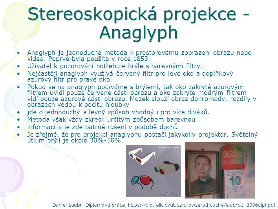 Stereoskopická projekce - Anaglyph Anaglyph je jednoduchá metoda k prostorovému zobrazení obrazu nebo videa.