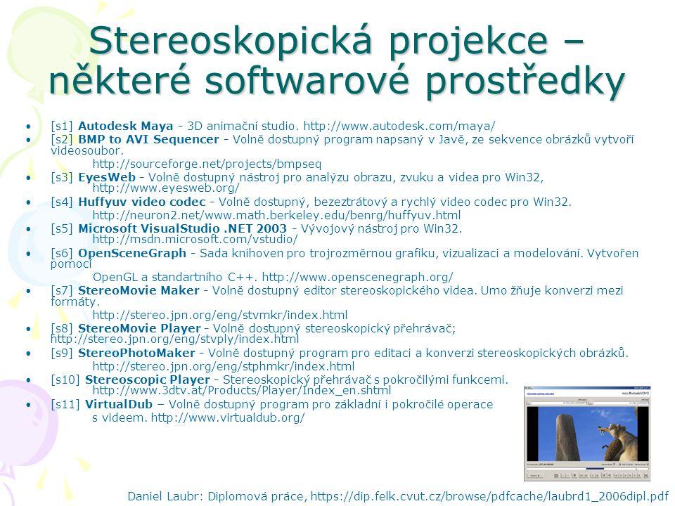 Stereoskopická projekce – některé softwarové prostředky [s1] Autodesk Maya - 3D animační studio.