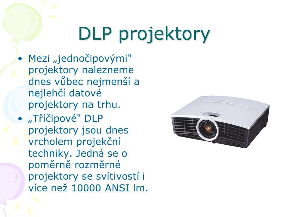 """DLP projektory Mezi """"jednočipovými projektory nalezneme dnes vůbec nejmenší a nejlehčí datové projektory na trhu."""