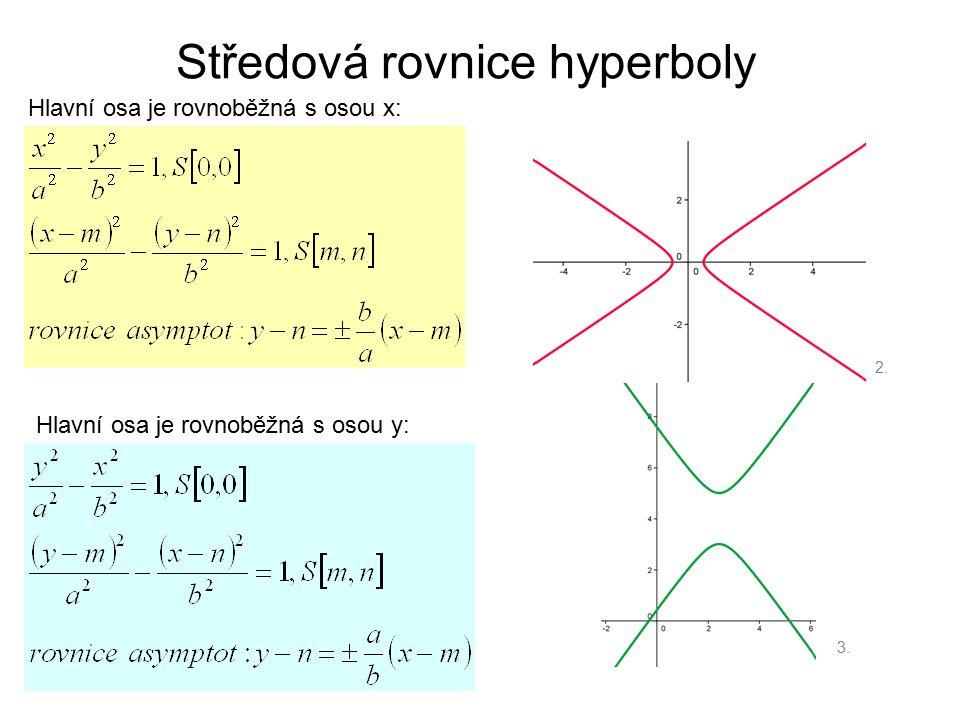 Středová rovnice hyperboly Hlavní osa je rovnoběžná s osou x: Hlavní osa je rovnoběžná s osou y: 2. 3.