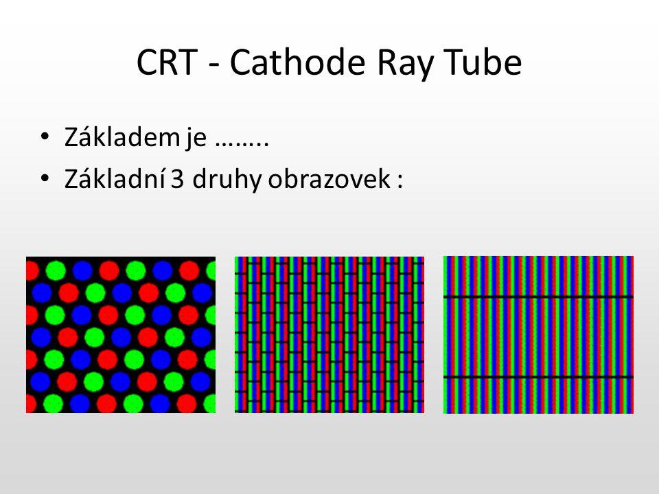Barevná obrazovka Katoda Zaostřovací cívky Připojeni anody Luminoforová vrstva Detail luminoforové vrstvy Vychylovací cívky Maska pro odděleni paprsky RGB Svazek elektronů