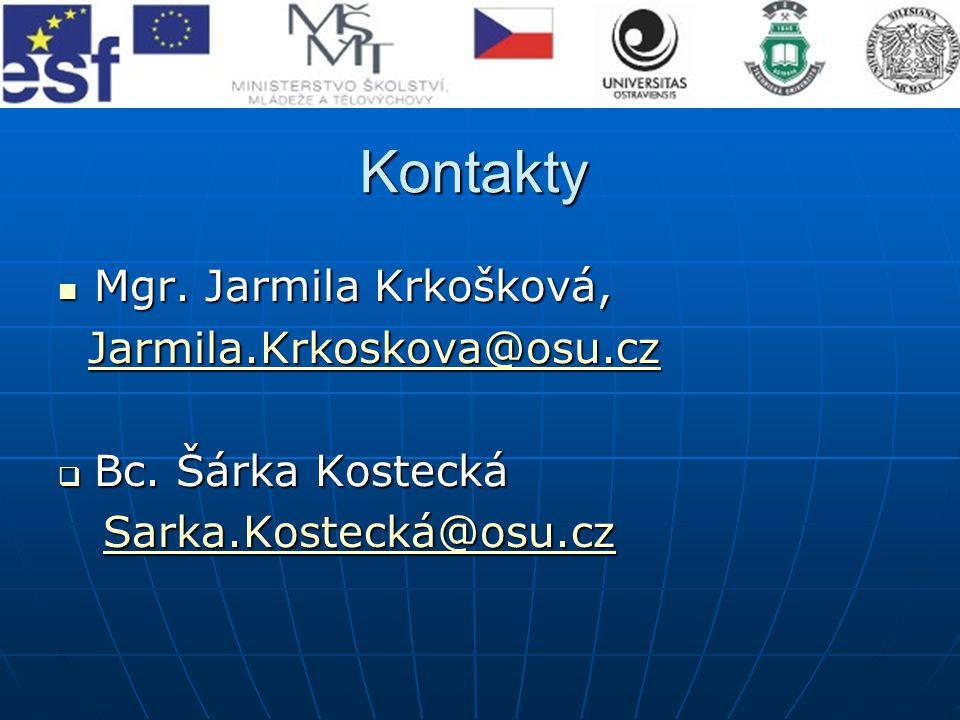 Kontakty Mgr. Jarmila Krkošková, Mgr.