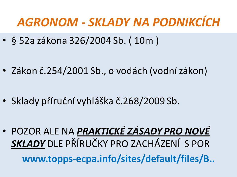 AGRONOM - SKLADY NA PODNIKCÍCH § 52a zákona 326/2004 Sb. ( 10m ) Zákon č.254/2001 Sb., o vodách (vodní zákon) Sklady příruční vyhláška č.268/2009 Sb.