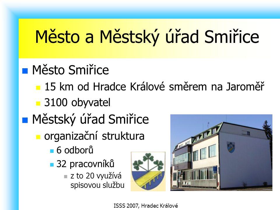 ISSS 2007, Hradec Králové Město a Městský úřad Smiřice Město Smiřice 15 km od Hradce Králové směrem na Jaroměř 3100 obyvatel Městský úřad Smiřice orga