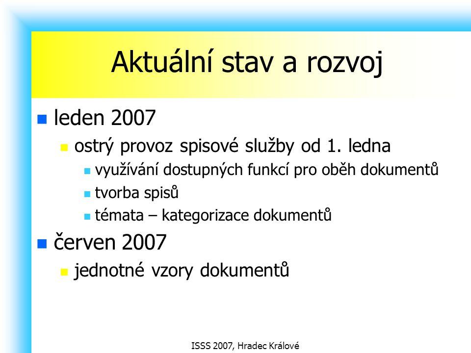ISSS 2007, Hradec Králové Aktuální stav a rozvoj leden 2007 ostrý provoz spisové služby od 1. ledna využívání dostupných funkcí pro oběh dokumentů tvo