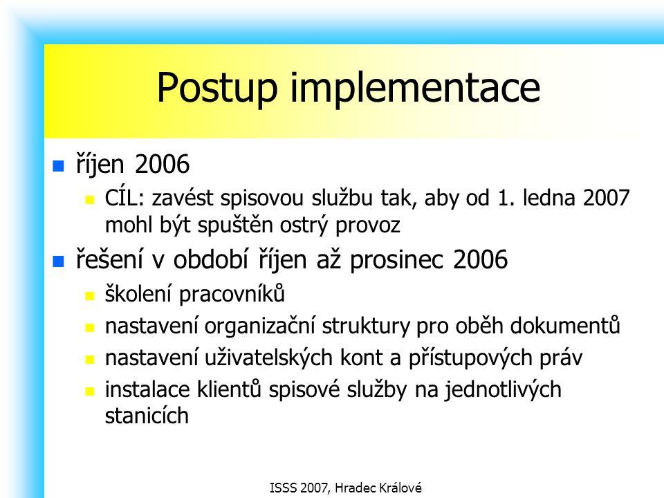 ISSS 2007, Hradec Králové Postup implementace říjen 2006 CÍL: zavést spisovou službu tak, aby od 1. ledna 2007 mohl být spuštěn ostrý provoz řešení v