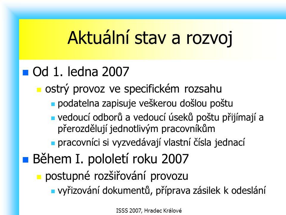 ISSS 2007, Hradec Králové Aktuální stav a rozvoj Od 1. ledna 2007 ostrý provoz ve specifickém rozsahu podatelna zapisuje veškerou došlou poštu vedoucí