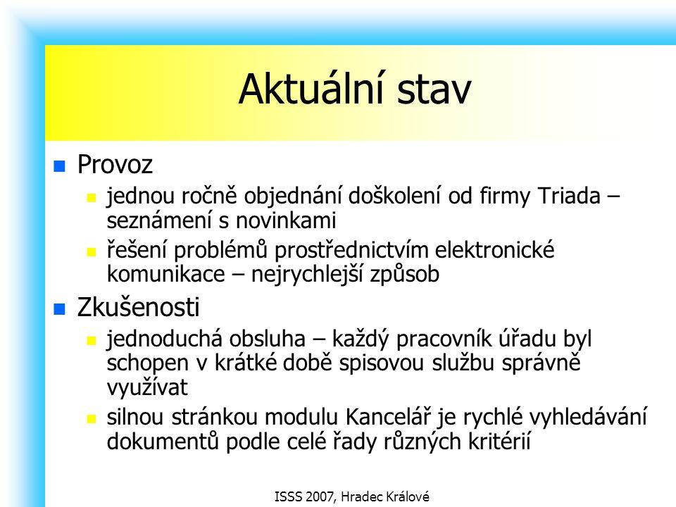 ISSS 2007, Hradec Králové Aktuální stav Provoz jednou ročně objednání doškolení od firmy Triada – seznámení s novinkami řešení problémů prostřednictví