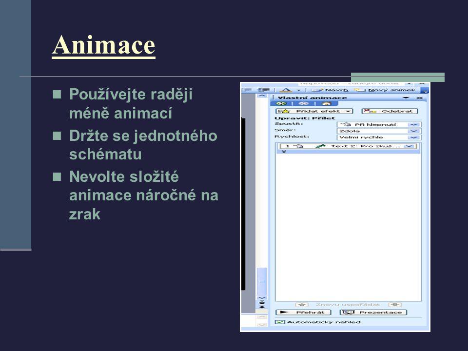 Animace Používejte raději méně animací Držte se jednotného schématu Nevolte složité animace náročné na zrak