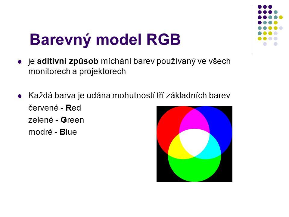 Barevný model RGB je aditivní způsob míchání barev používaný ve všech monitorech a projektorech Každá barva je udána mohutností tří základních barev č