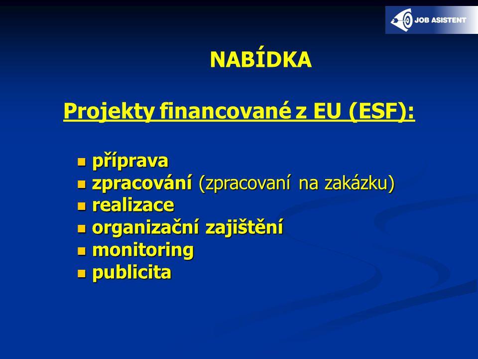 NABÍDKA Projekty financované z EU (ESF): příprava příprava zpracování (zpracovaní na zakázku) zpracování (zpracovaní na zakázku) realizace realizace organizační zajištění organizační zajištění monitoring monitoring publicita publicita