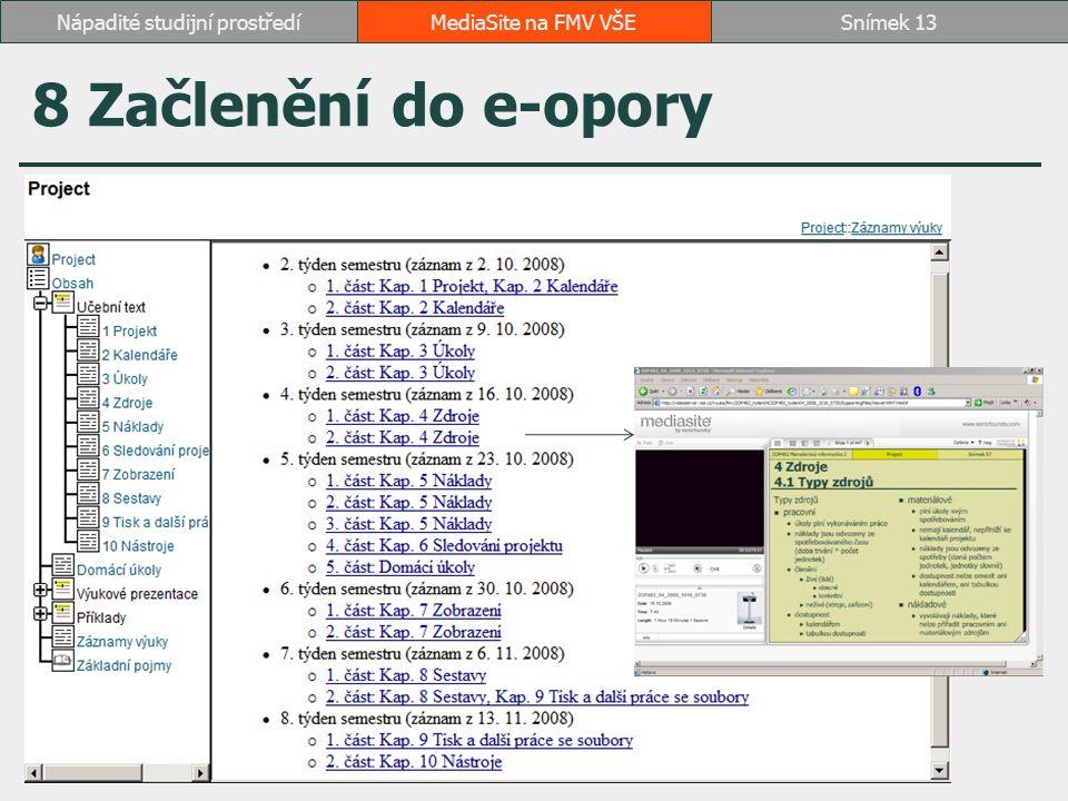 8 Začlenění do e-opory MediaSite na FMV VŠESnímek 13Nápadité studijní prostředí