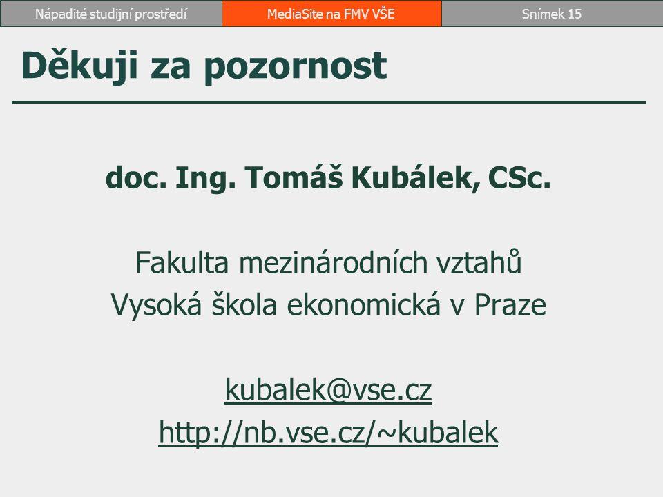 Děkuji za pozornost doc. Ing. Tomáš Kubálek, CSc.