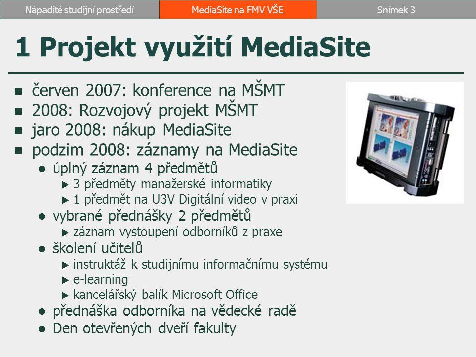 1 Projekt využití MediaSite červen 2007: konference na MŠMT 2008: Rozvojový projekt MŠMT jaro 2008: nákup MediaSite podzim 2008: záznamy na MediaSite úplný záznam 4 předmětů  3 předměty manažerské informatiky  1 předmět na U3V Digitální video v praxi vybrané přednášky 2 předmětů  záznam vystoupení odborníků z praxe školení učitelů  instruktáž k studijnímu informačnímu systému  e-learning  kancelářský balík Microsoft Office přednáška odborníka na vědecké radě Den otevřených dveří fakulty MediaSite na FMV VŠESnímek 3Nápadité studijní prostředí