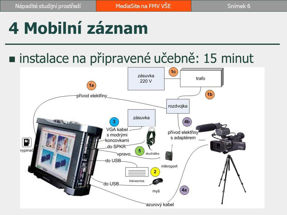 4 Mobilní záznam instalace na připravené učebně: 15 minut MediaSite na FMV VŠESnímek 6Nápadité studijní prostředí