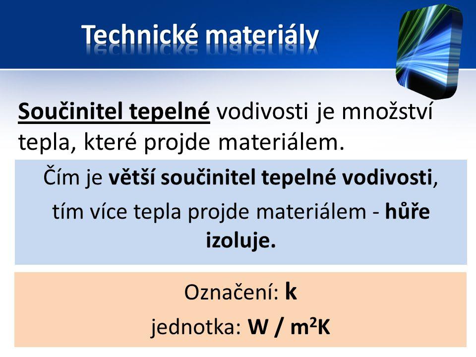 Součinitel tepelné vodivosti je množství tepla, které projde materiálem. Čím je větší součinitel tepelné vodivosti, tím více tepla projde materiálem -