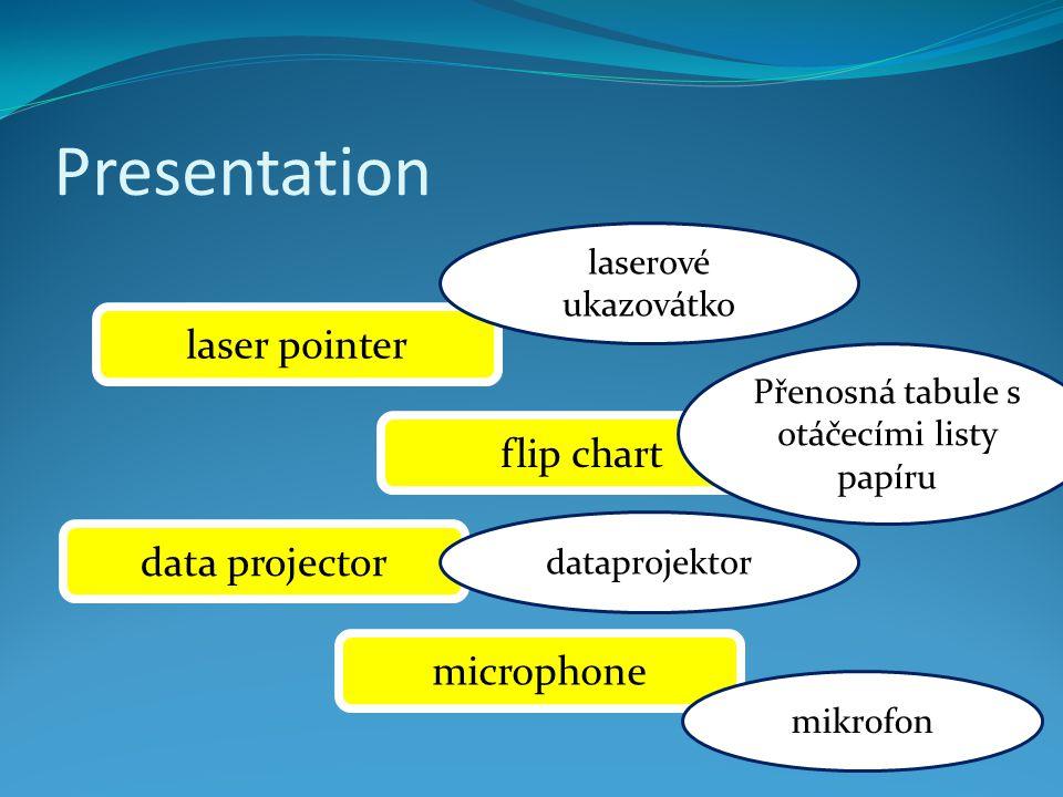 Presentation laser pointer flip chart data projector microphone laserové ukazovátko Přenosná tabule s otáčecími listy papíru dataprojektor mikrofon