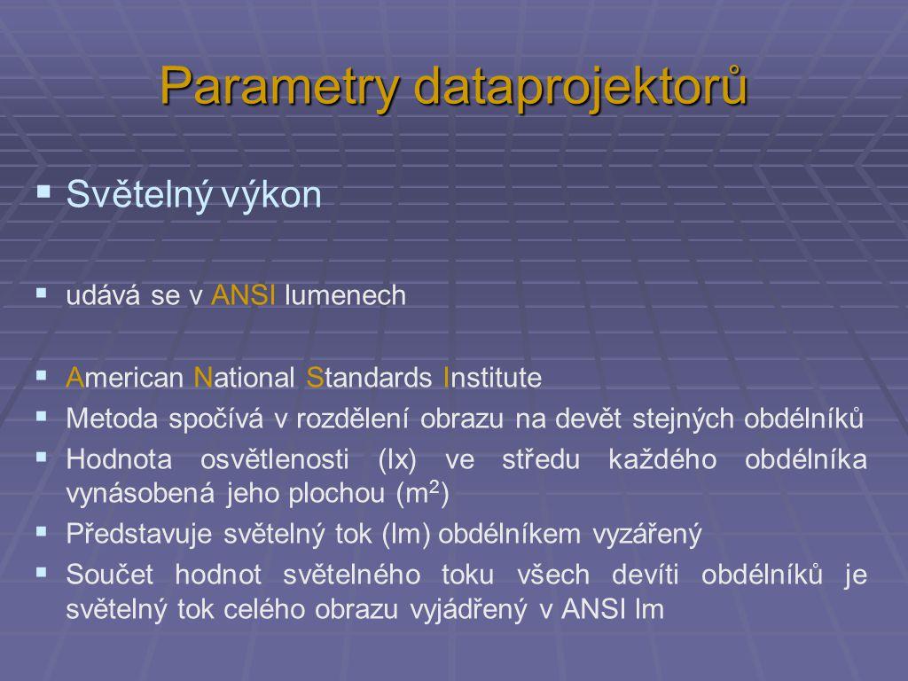 Parametry dataprojektorů  Světelný výkon  udává se v ANSI lumenech  American National Standards Institute  Metoda spočívá v rozdělení obrazu na devět stejných obdélníků  Hodnota osvětlenosti (lx) ve středu každého obdélníka vynásobená jeho plochou (m 2 )  Představuje světelný tok (lm) obdélníkem vyzářený  Součet hodnot světelného toku všech devíti obdélníků je světelný tok celého obrazu vyjádřený v ANSI lm