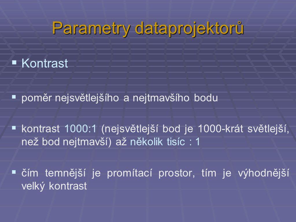 Parametry dataprojektorů  Kontrast  poměr nejsvětlejšího a nejtmavšího bodu  kontrast 1000:1 (nejsvětlejší bod je 1000-krát světlejší, než bod nejtmavší) až několik tisíc : 1  čím temnější je promítací prostor, tím je výhodnější velký kontrast