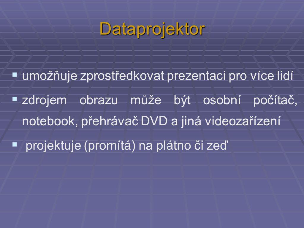 Dataprojektor  umožňuje zprostředkovat prezentaci pro více lidí  zdrojem obrazu může být osobní počítač, notebook, přehrávač DVD a jiná videozařízení  projektuje (promítá) na plátno či zeď