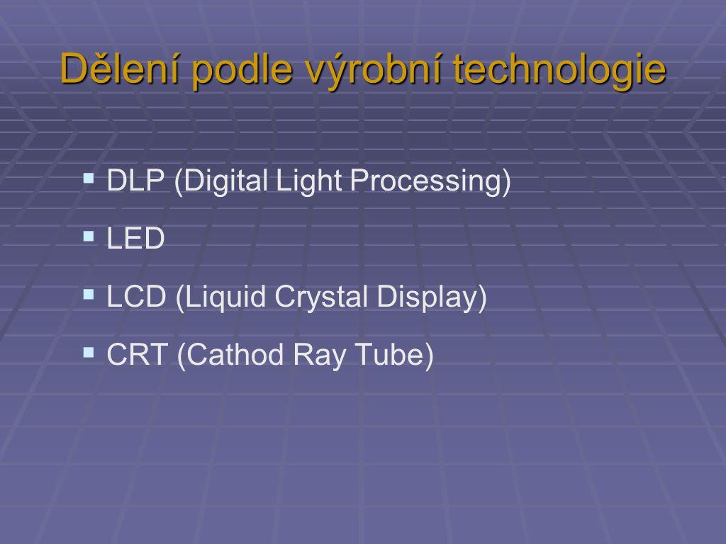 Dělení podle výrobní technologie  DLP (Digital Light Processing)  LED  LCD (Liquid Crystal Display)  CRT (Cathod Ray Tube)