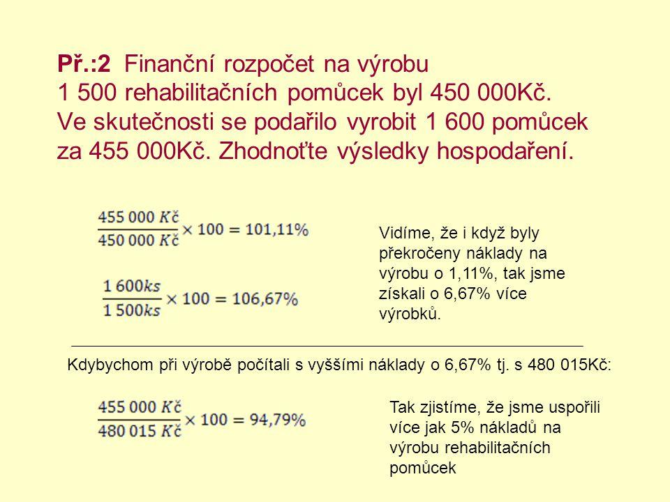 Př.:2 Finanční rozpočet na výrobu 1 500 rehabilitačních pomůcek byl 450 000Kč.