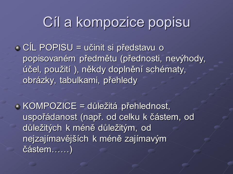 Cíl a kompozice popisu CÍL POPISU = učinit si představu o popisovaném předmětu (přednosti, nevýhody, účel, použití ), někdy doplnění schématy, obrázky