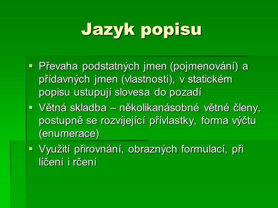 Jazyk popisu  Převaha podstatných jmen (pojmenování) a přídavných jmen (vlastnosti), v statickém popisu ustupují slovesa do pozadí  Větná skladba –