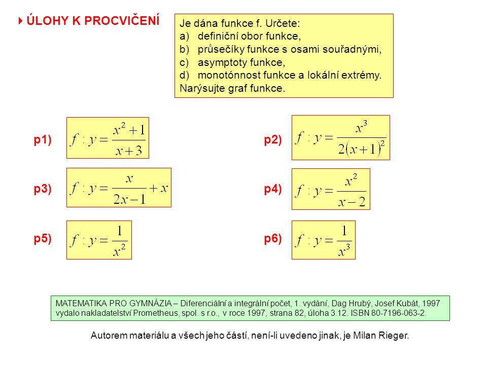 Autorem materiálu a všech jeho částí, není-li uvedeno jinak, je Milan Rieger. p1) p3) p5) p2) p4)  ÚLOHY K PROCVIČENÍ Je dána funkce f. Určete: a)def