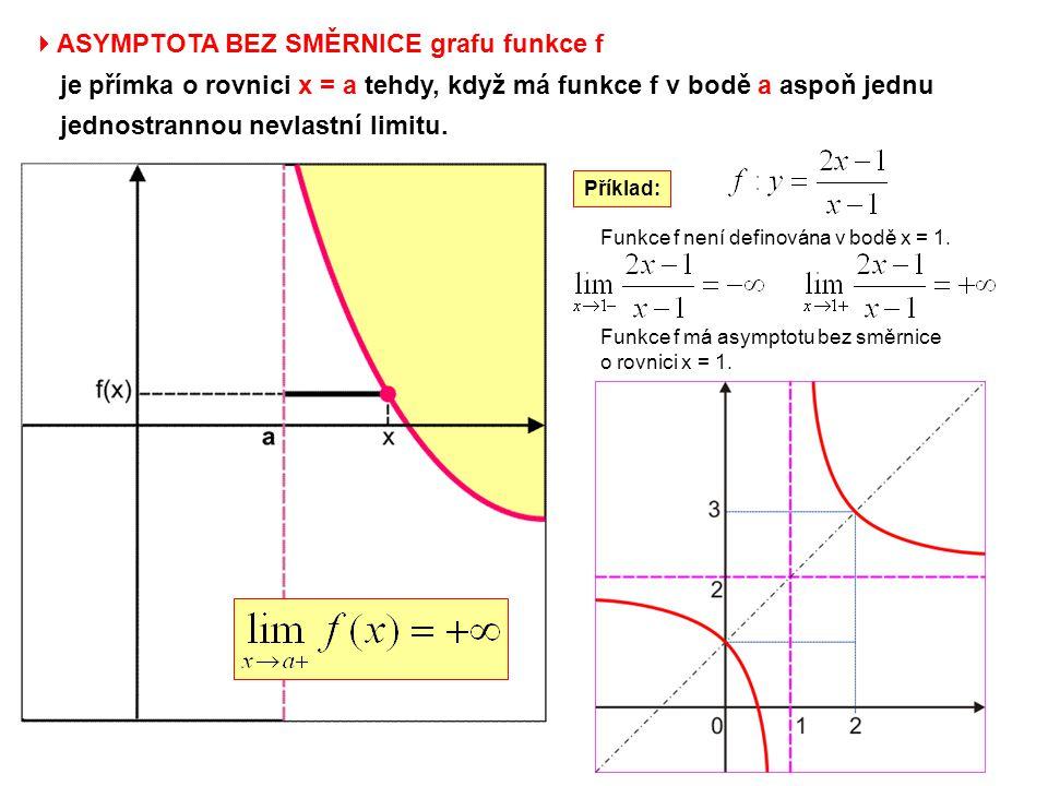  ASYMPTOTA BEZ SMĚRNICE grafu funkce f je přímka o rovnici x = a tehdy, když má funkce f v bodě a aspoň jednu jednostrannou nevlastní limitu. Funkce