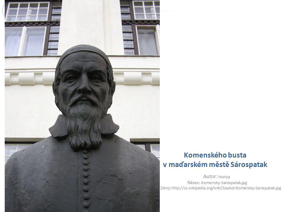Komenského busta v maďarském městě Sárospatak Autor: Honya Název: Komensky-Sarospatak.jpg Zdroj: http://cs.wikipedia.org/wiki/Soubor:Komensky-Sarospat