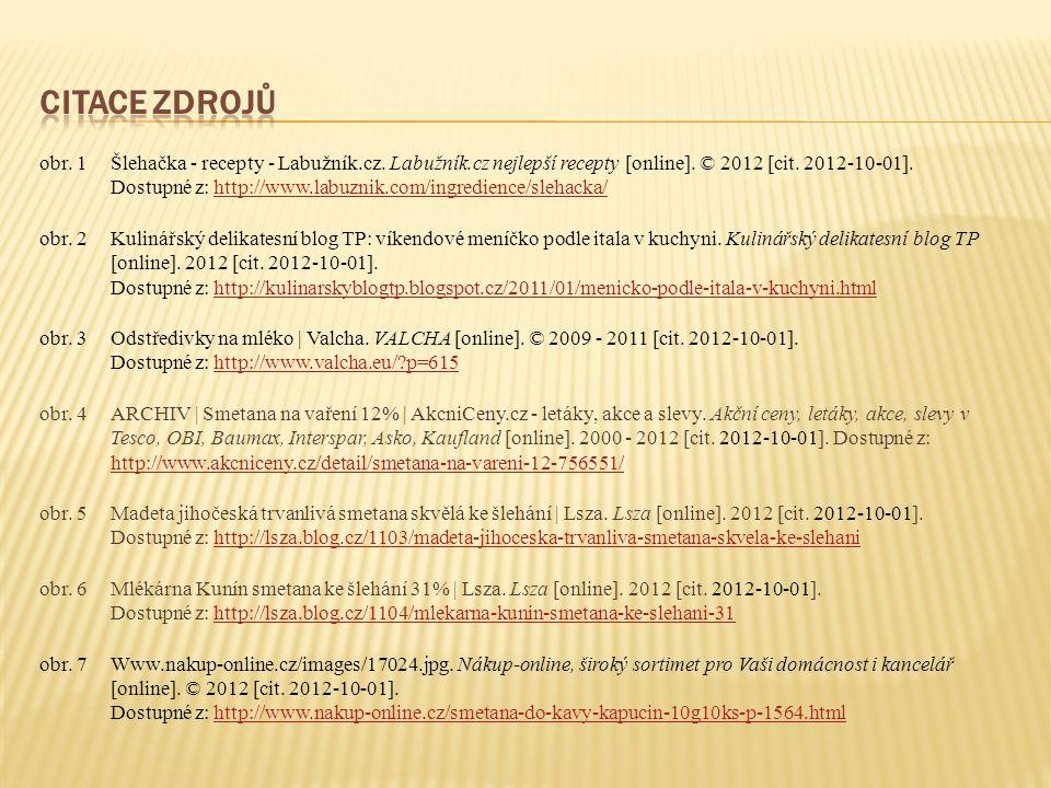 obr. 1Šlehačka - recepty - Labužník.cz. Labužník.cz nejlepší recepty [online]. © 2012 [cit. 2012-10-01]. Dostupné z: http://www.labuznik.com/ingredien