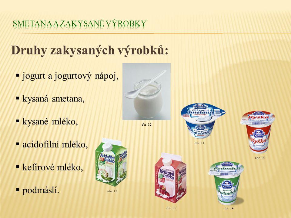 Druhy zakysaných výrobků:  jogurt a jogurtový nápoj,  kysané mléko,  acidofilní mléko,  kefírové mléko,  kysaná smetana, obr. 10  podmáslí. obr.