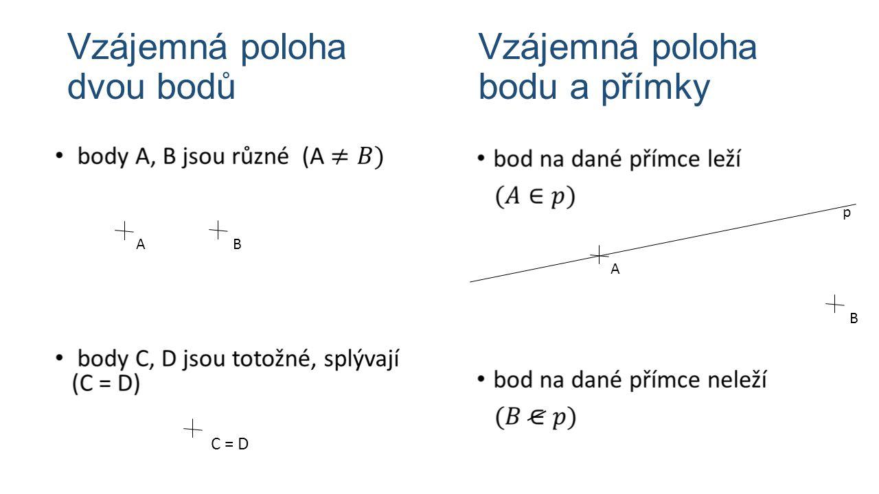 Vzájemná poloha dvou bodů C = D Vzájemná poloha bodu a přímky B A p AB