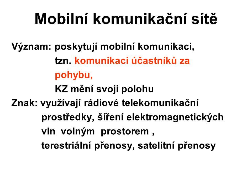 Mobilní komunikační sítě Význam: poskytují mobilní komunikaci, tzn.
