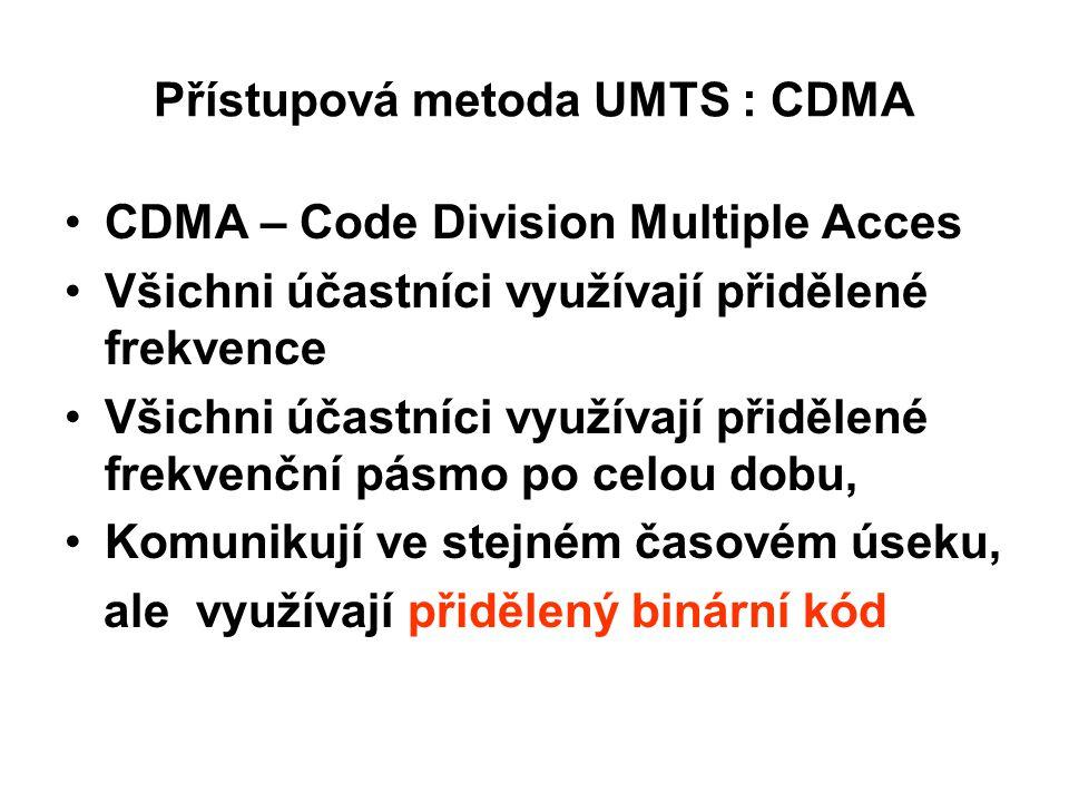 Přístupová metoda UMTS : CDMA CDMA – Code Division Multiple Acces Všichni účastníci využívají přidělené frekvence Všichni účastníci využívají přidělené frekvenční pásmo po celou dobu, Komunikují ve stejném časovém úseku, ale využívají přidělený binární kód