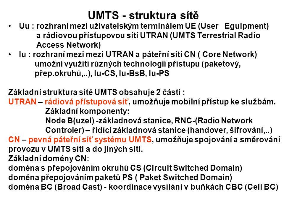 UMTS - struktura sítě Uu : rozhraní mezi uživatelským terminálem UE (User Eguipment) a rádiovou přístupovou sítí UTRAN (UMTS Terrestrial Radio Access Network) Iu : rozhraní mezi mezi UTRAN a páteřní sítí CN ( Core Network) umožní využití různých technologií přístupu (paketový, přep.okruhů,..), Iu-CS, Iu-BsB, Iu-PS Základní struktura sítě UMTS obsahuje 2 části : UTRAN – rádiová přístupová síť, umožňuje mobilní přístup ke službám.