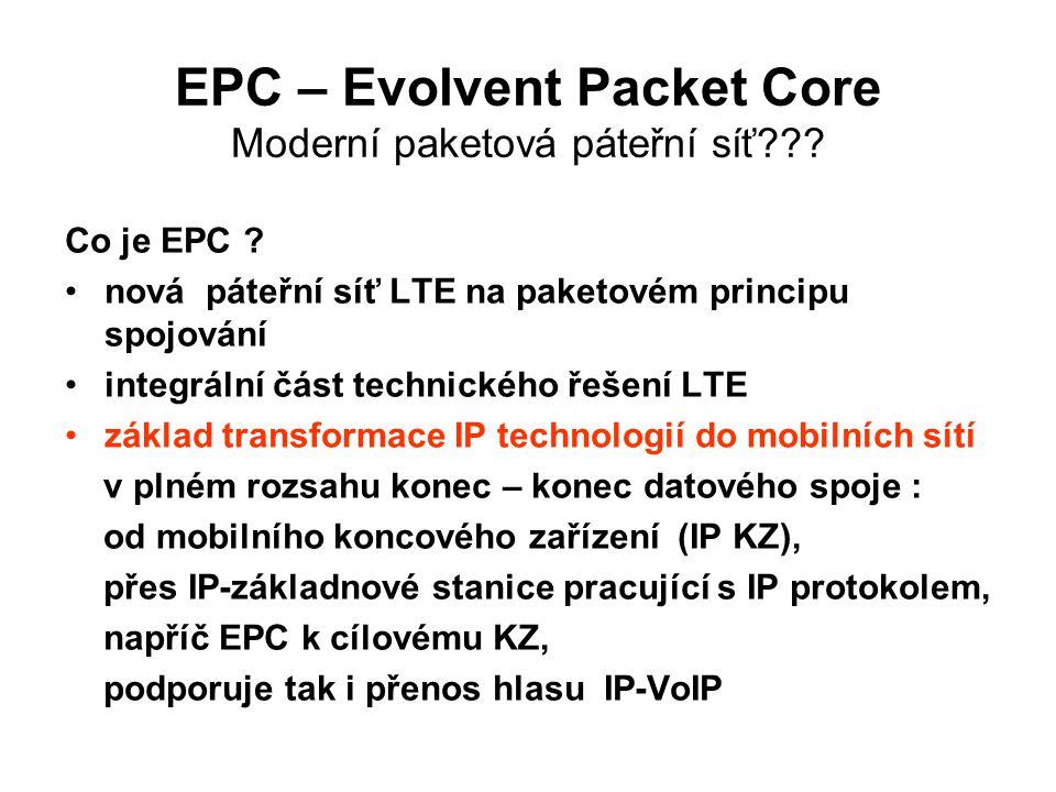 EPC – Evolvent Packet Core Moderní paketová páteřní síť??.